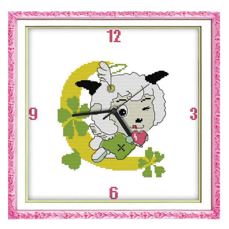 Tranh thêu chữ thập thành phẩm đồng hồ hoa hồng YG-054