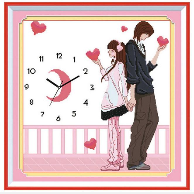 Tranh thêu chữ thập thành phẩm đồng hồ đôi tình nhân YG-059