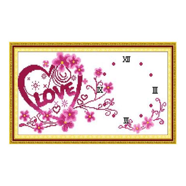 Tranh thêu chữ thập thành phẩm đồng hồ chữ LOVE YG-074
