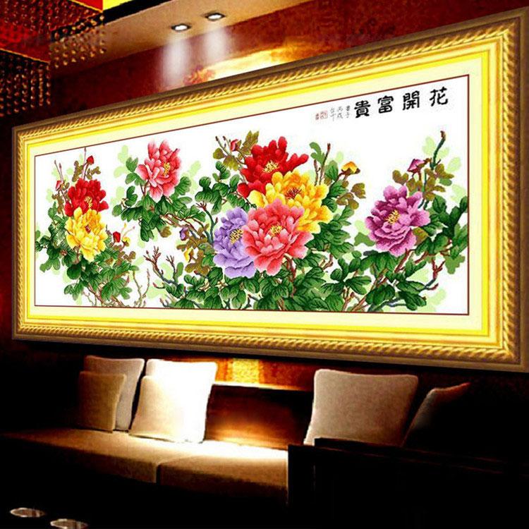 Tranh thêu chữ thập thành phẩm hoa mẫu đơn khoe sắc cực đẹp HY-211