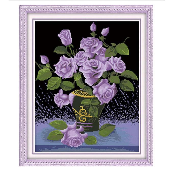 Tranh thêu chữ thập thành phẩm bình hoa hồng tím HY-155