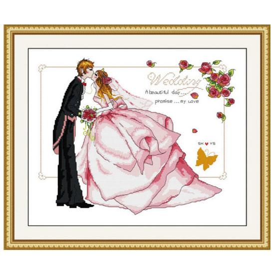 Tranh thêu chữ thập thành phẩm The Wedding YR-063