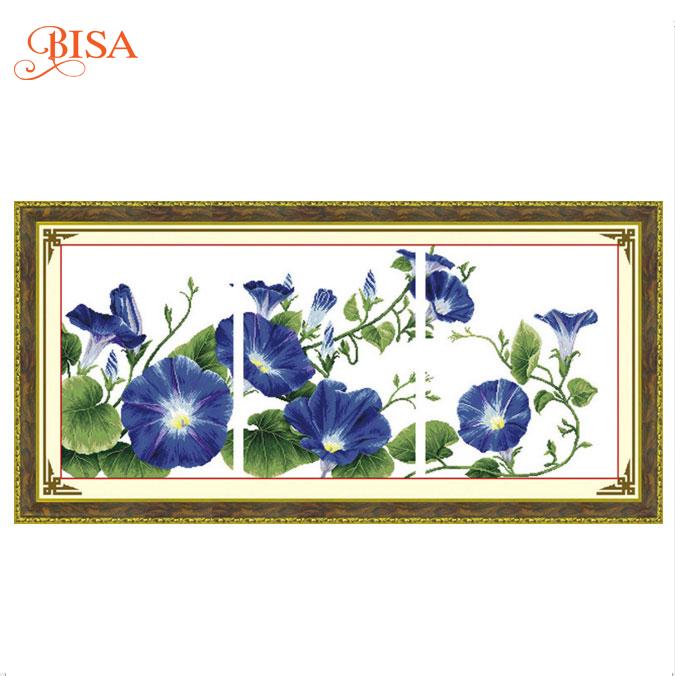 Tranh thêu chữ thập thành phẩm hoa lan 3 bức HY-160