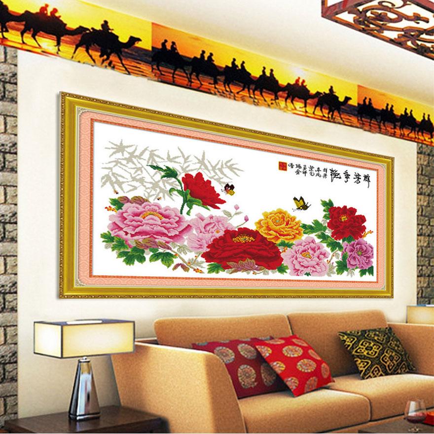 Tranh thêu chữ thập thành phẩm hoa mẫu đơn cực đẹp và ấn tượng HY-170
