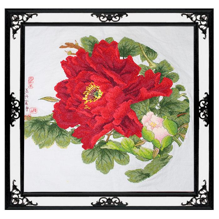 Tranh thêu chữ thập thành phẩm bông hoa mẫu đơn đỏ HY-150