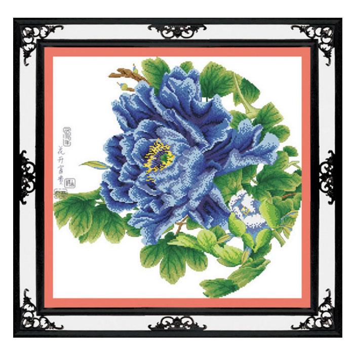 Tranh thêu chữ thập thành phẩm bông hoa mẫu đơn xanh HY-149