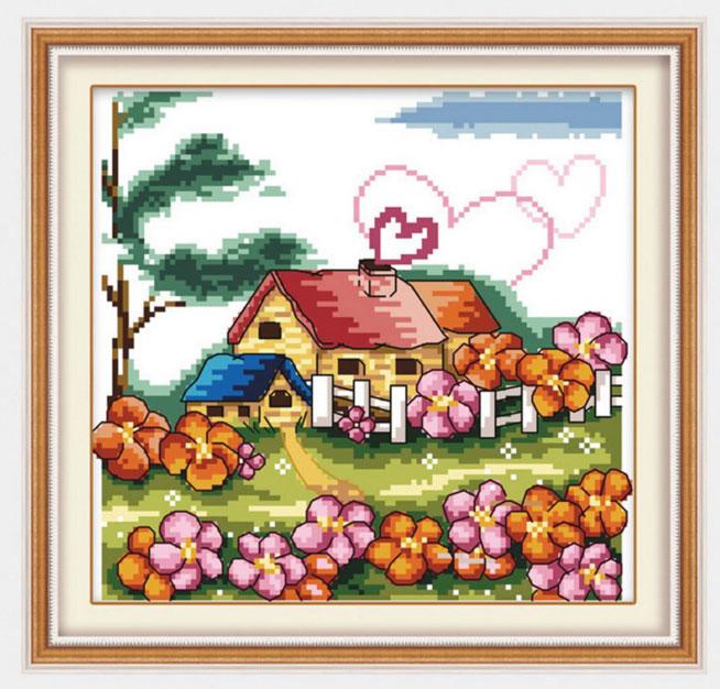 Tranh thêu chữ thập thành phẩm Love my home YK-018