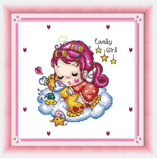 Tranh thêu chữ thập thành phẩm Lovely Girl YK-010