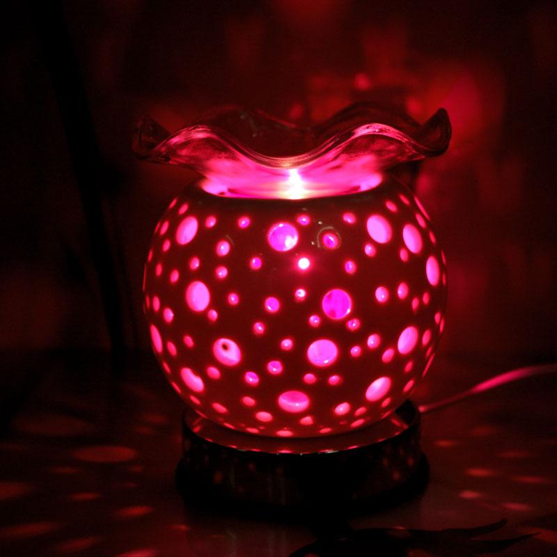 Đèn tinh dầu họa tiết hoa lan với 2 chức năng vừa làm đèn ngủ và đèn xông hương