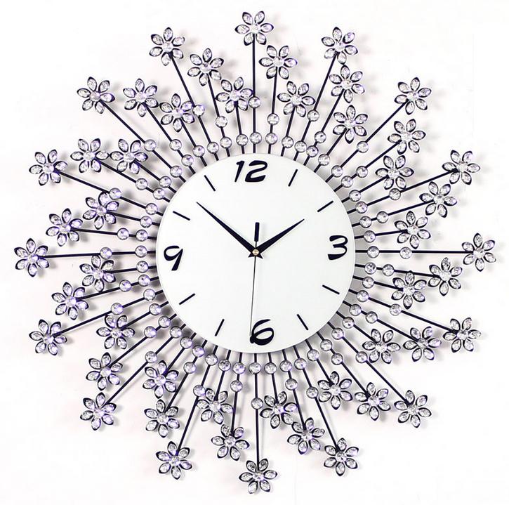 đồng hồ treo tường hoa pha lê 1