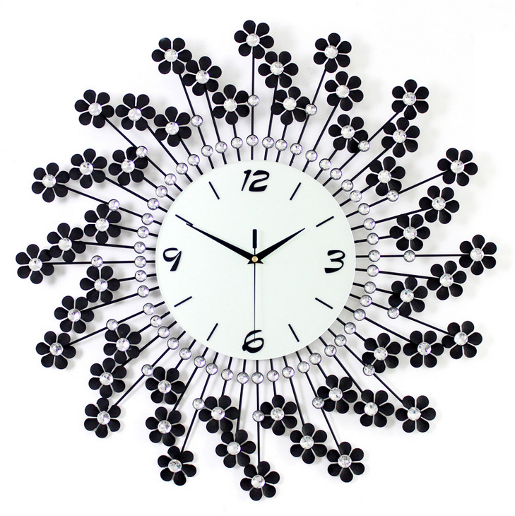 đồng hồ treo tường hoa pha lê 3