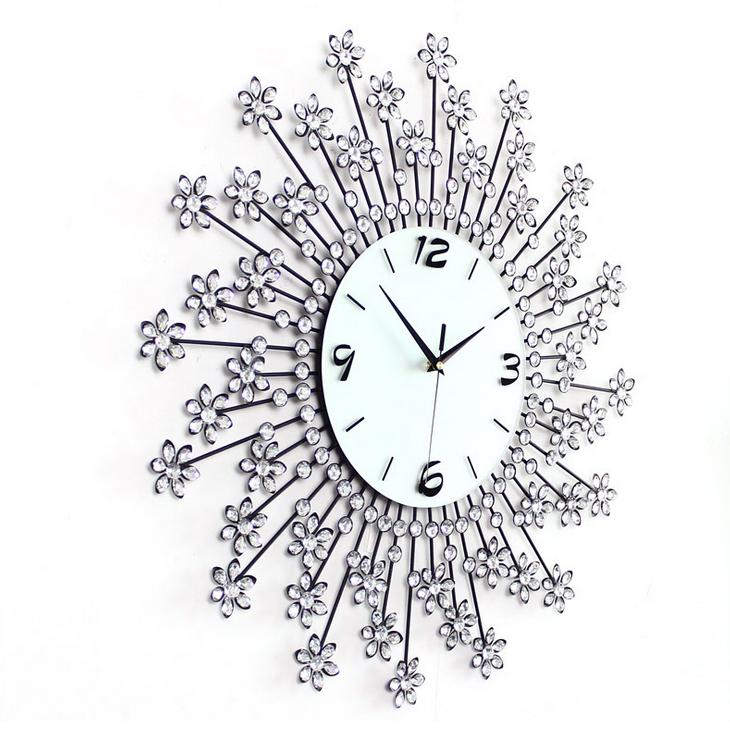 đồng hồ treo tường hoa pha lê 2