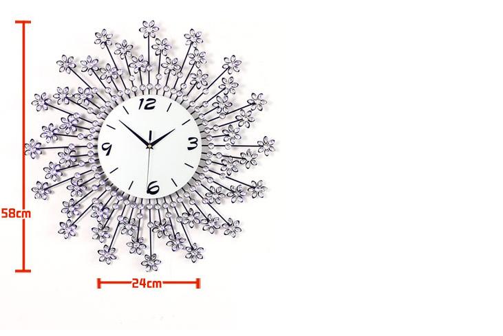 đồng hồ treo tường hoa pha lê 4