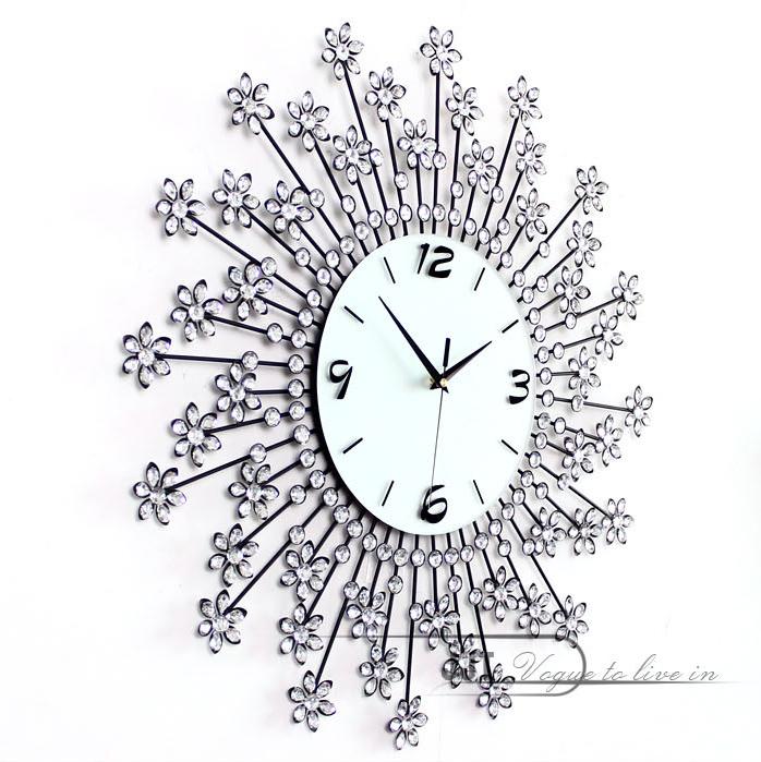 đồng hồ treo tường hoa pha lê 9