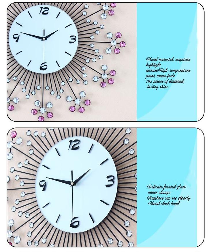 đồng hồ trang trí bằng pha lê hình hoa ảnh 5
