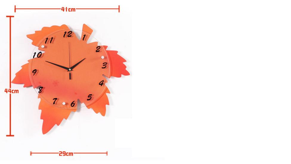 kích thước đồng hồ treo tường hình lá phong đẹp